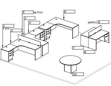 Picture of Corner Curve L Shape Desk Workstation