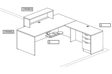Picture of L Shape Desk Workstation with Sign-In Counter