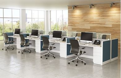 Picture of Cluster of 8 Person, Computer Desk Workstation