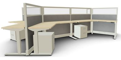 Picture of 6 Person Powered Height Adjustable Cubicle Workstation