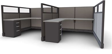 Picture of Cluster of 4 Person, 6' L Shape Cube Workstation