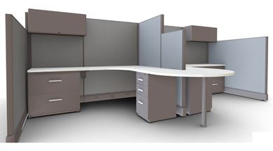 Picture of Cluster of 4 Person, 6' L Shape Cube Workstation with Filing