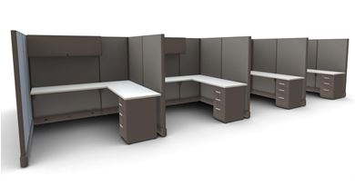 Picture of Cluster of 8 Person, L Shape Cube Workstation