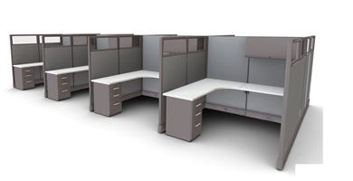 Picture of Cluster of 8 Person, L Shape Cube Workstation with Storage