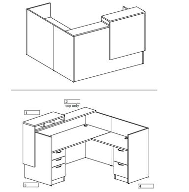 """Picture of 72"""" L Shape Reception Desk Station with Filing"""