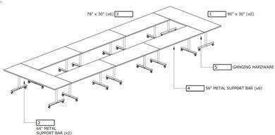 Picture of Modular Rectangular Mobile Training Table Set