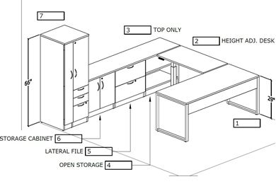 Picture of U Shape Desk Workstation with Wardrobe Storage