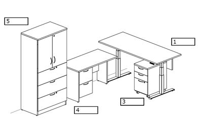 Picture of Powered Height Adjustable Table with Lateral File Storage