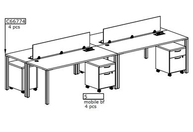 Picture of Four Person Teaming Bench Workstation with Filing
