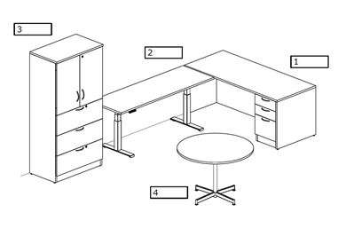 Picture of L Shape Desk Station with Powered Height Return and Lateral Filing
