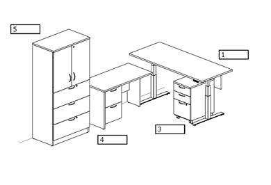 Picture of L Shape Desk Station with Powered Height Base and Lateral Filing