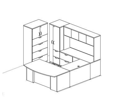 Picture of Bow Front U Shape Desk Station with Wardrobe and Lateral Filing