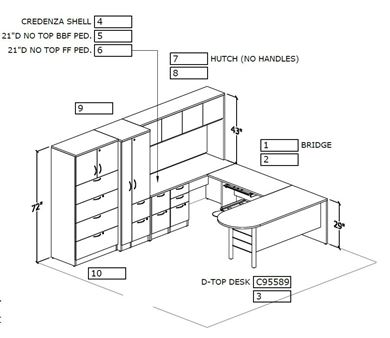 Picture of Peninsula U Shape Desk Station with Wardrobe and Lateral Filing