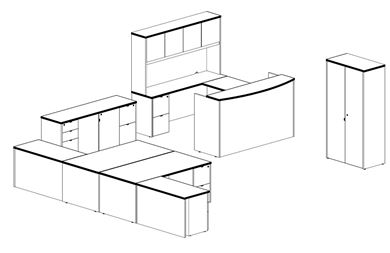 Picture of Wood Veneer Room Set, Reception Desk, L Shape Station, Wardrobe with Storage Credenza