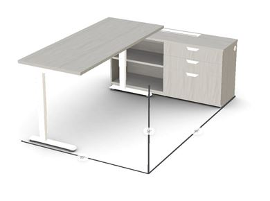 Picture of Powered Height Adjustable Table with Storage Credenza